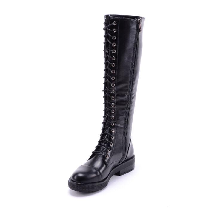 Női Fekete Műbőr Magasszárú Bakancs - MAGASSZÁRÚ CSIZMÁK - Női cipő ... 2bb3b14a8b