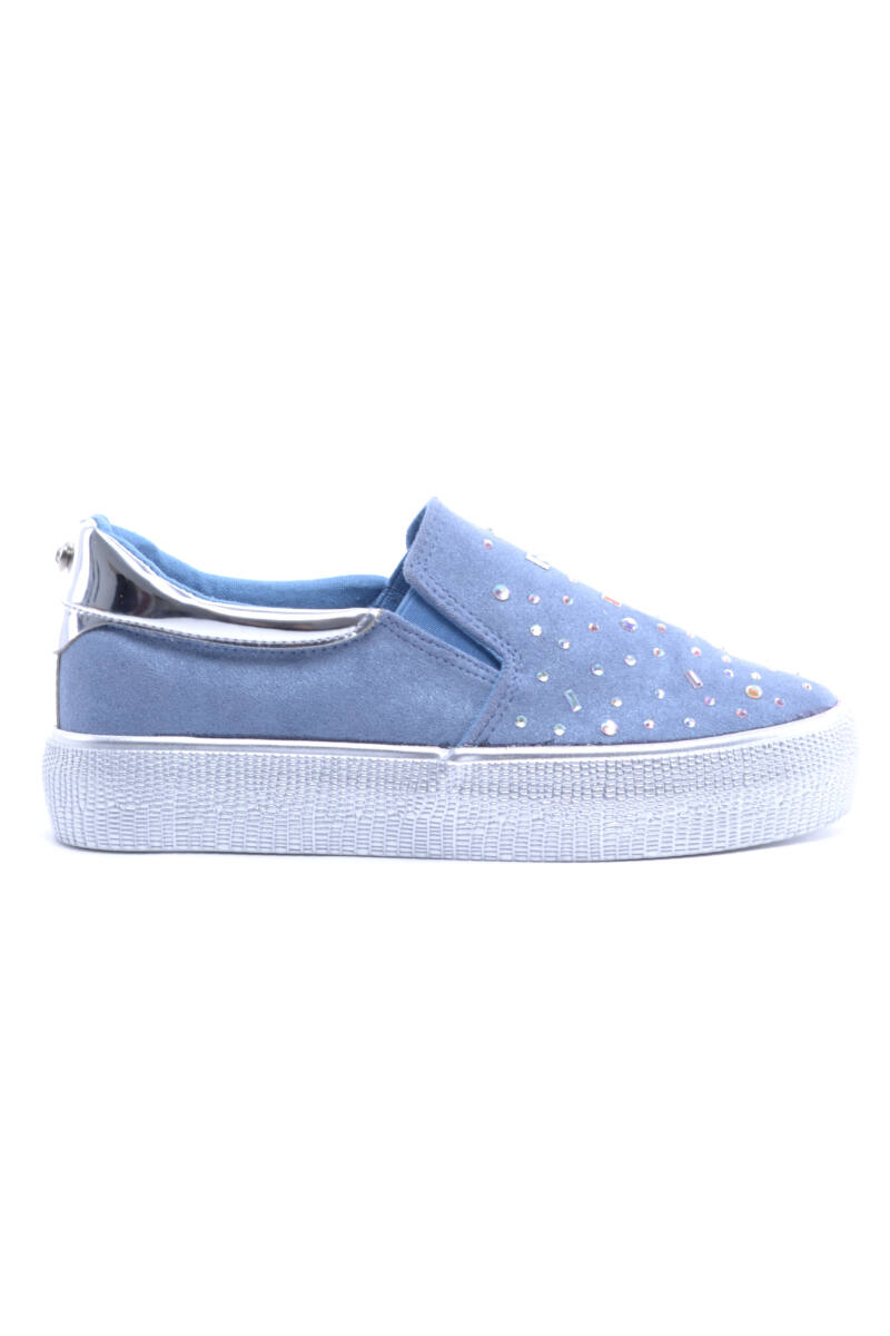 Kék Női Művelúr Slip-On