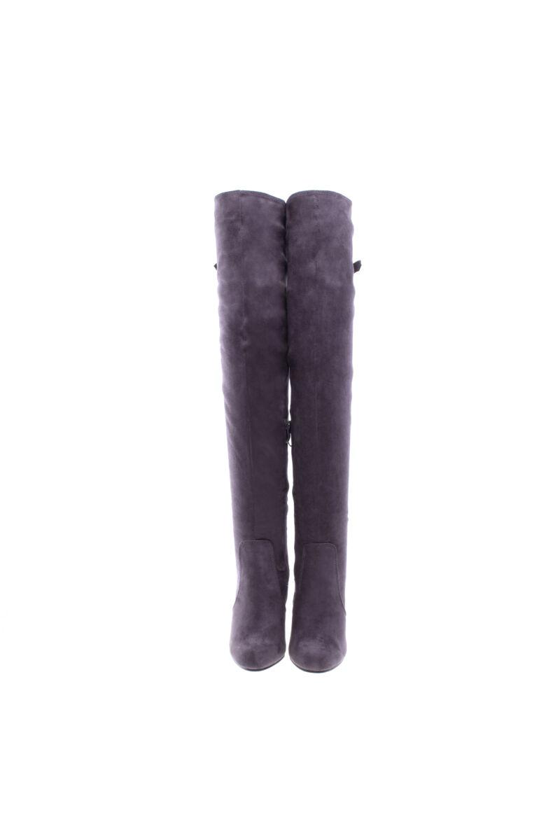 szürke női művelúr hosszúszárú magassarkú csizma