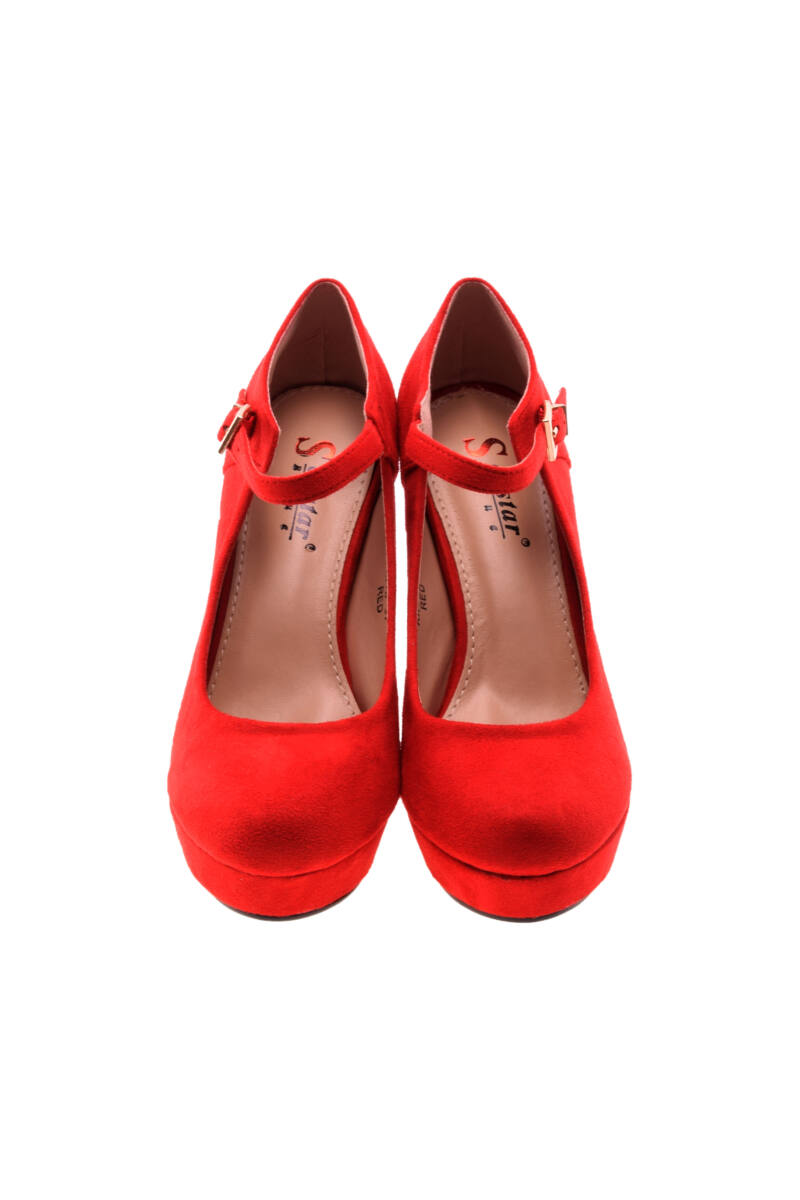 Női Piros Művelúr Magassarkú