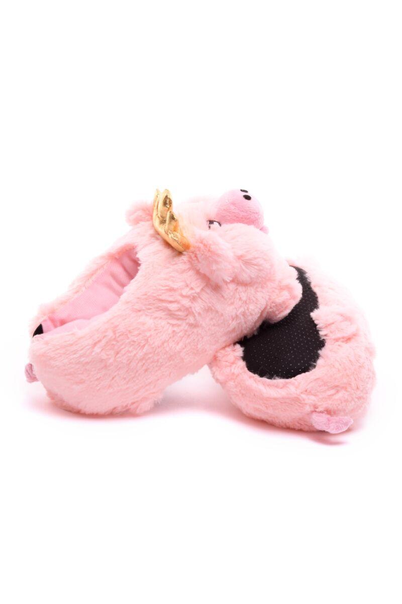 Szőrmés női malackás mamusz rózsaszín