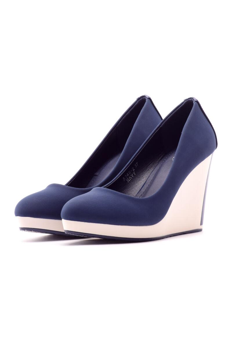 Kék női művelúr telitalpú cipő