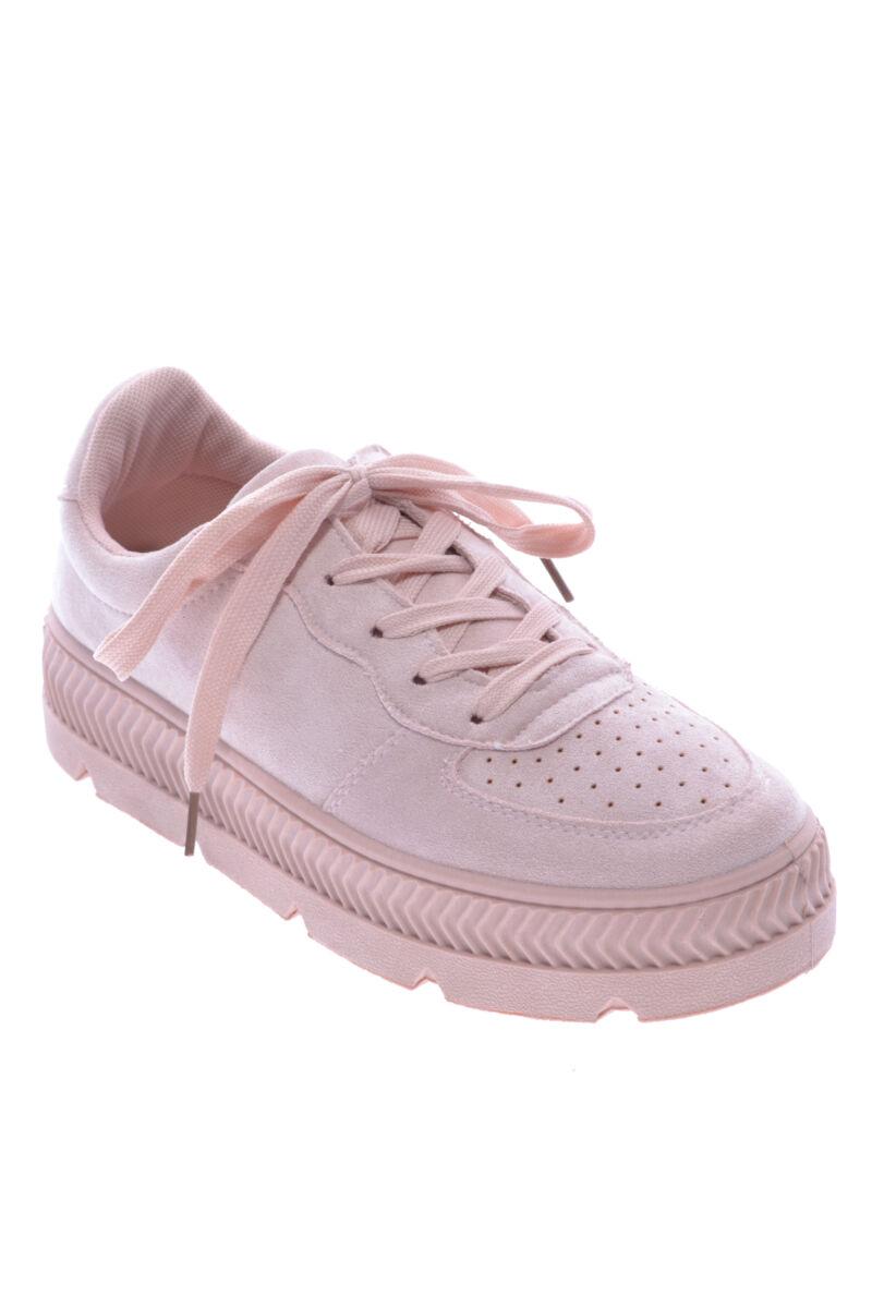 Női Művelúr Vastag Talpú Cipő Rózsaszín