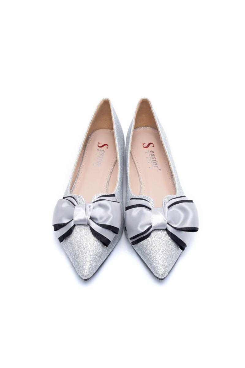 Ezüst színű csillámos műbőr balerina cipő