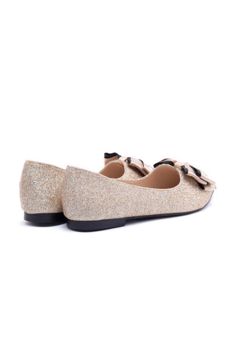 Pezsgő színű csillámos műbőr balerina cipő