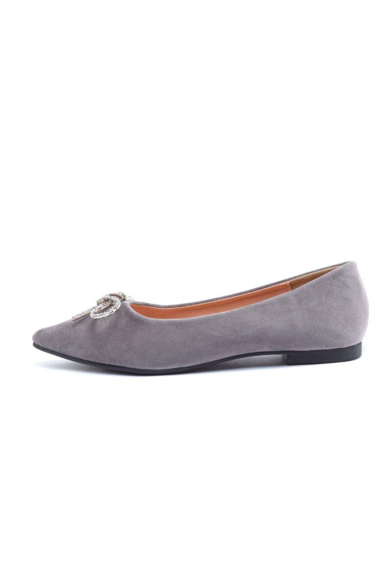 Szürke masnis művelúr balerina cipő