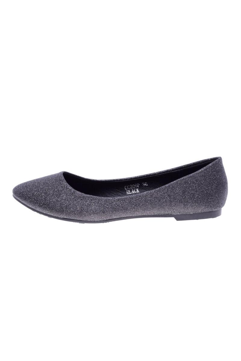 Fekete csillogós műbőr balerina cipő