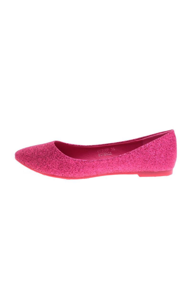 Rózsaszín csillogós műbőr balerina cipő