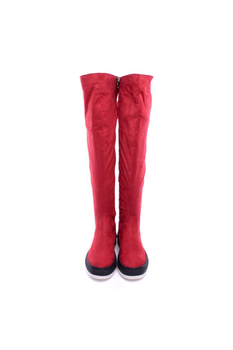 Női piros Művelúr Hosszúszárú Csizma