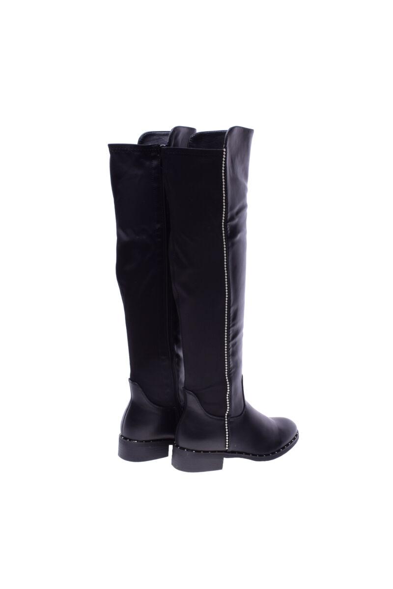 Fekete gyöngyös női műbőr magasszárú csizma
