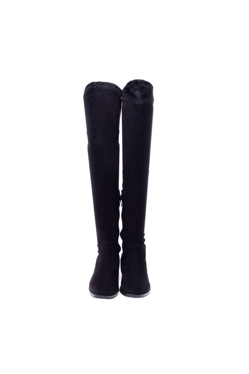 Fekete női művelúr magasszárú csizma