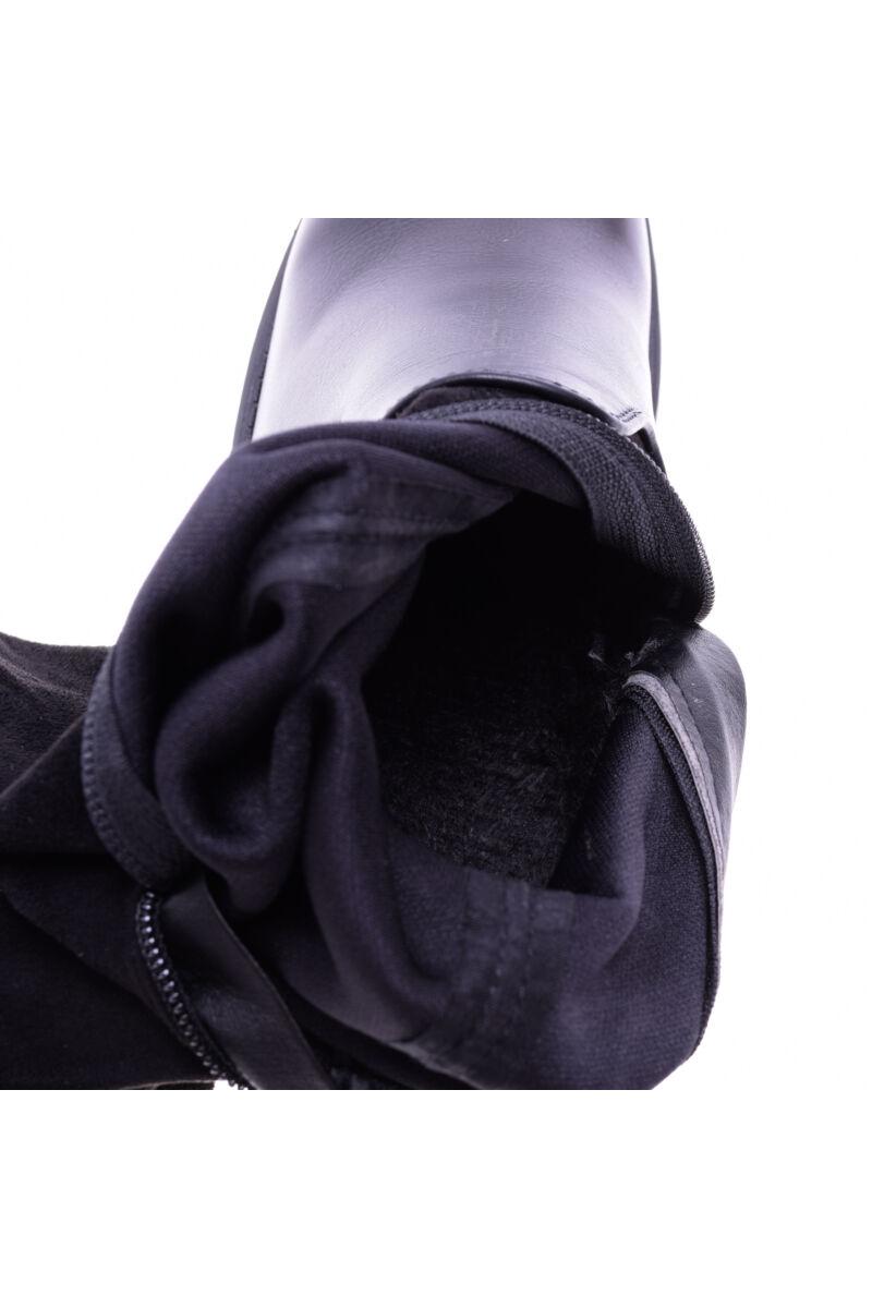 Női Fekete Művelúr Hosszúszárú Csizma