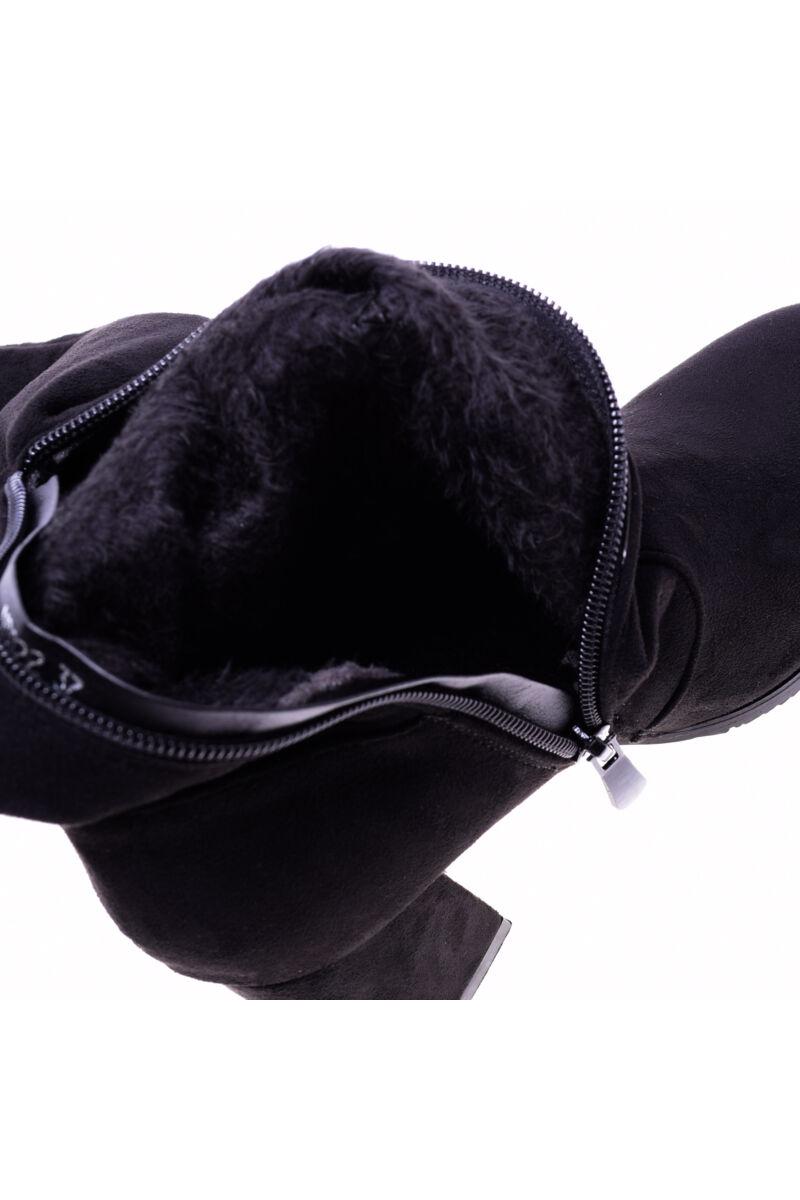 Női Fekete Műbőr Hosszúszárú Csizma
