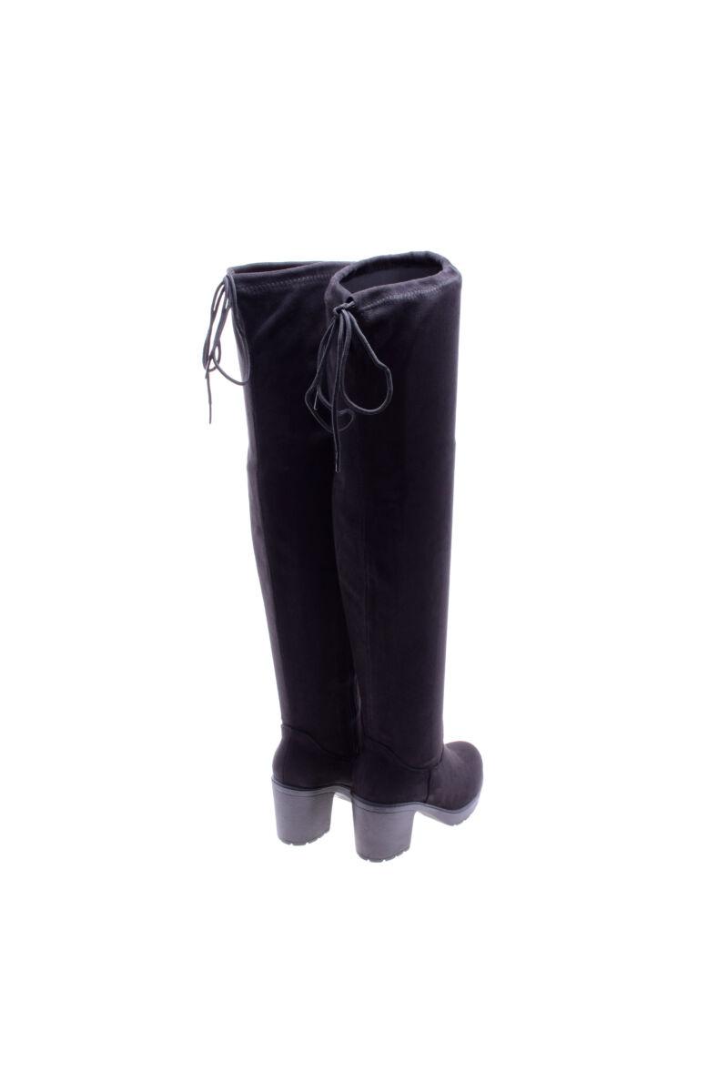 Fekete női művelúr hosszúszárú magassarkú csizma