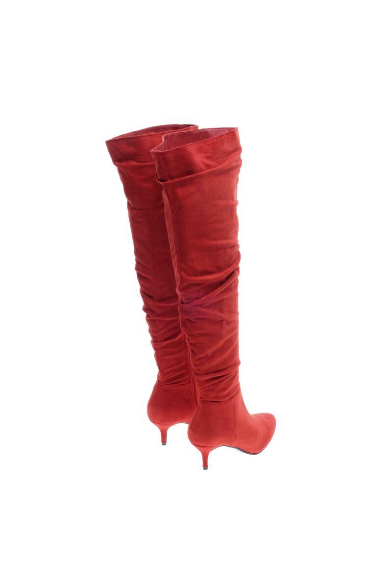 Női Piros Törpesarkú Művelúr Hosszúszárúcsizma