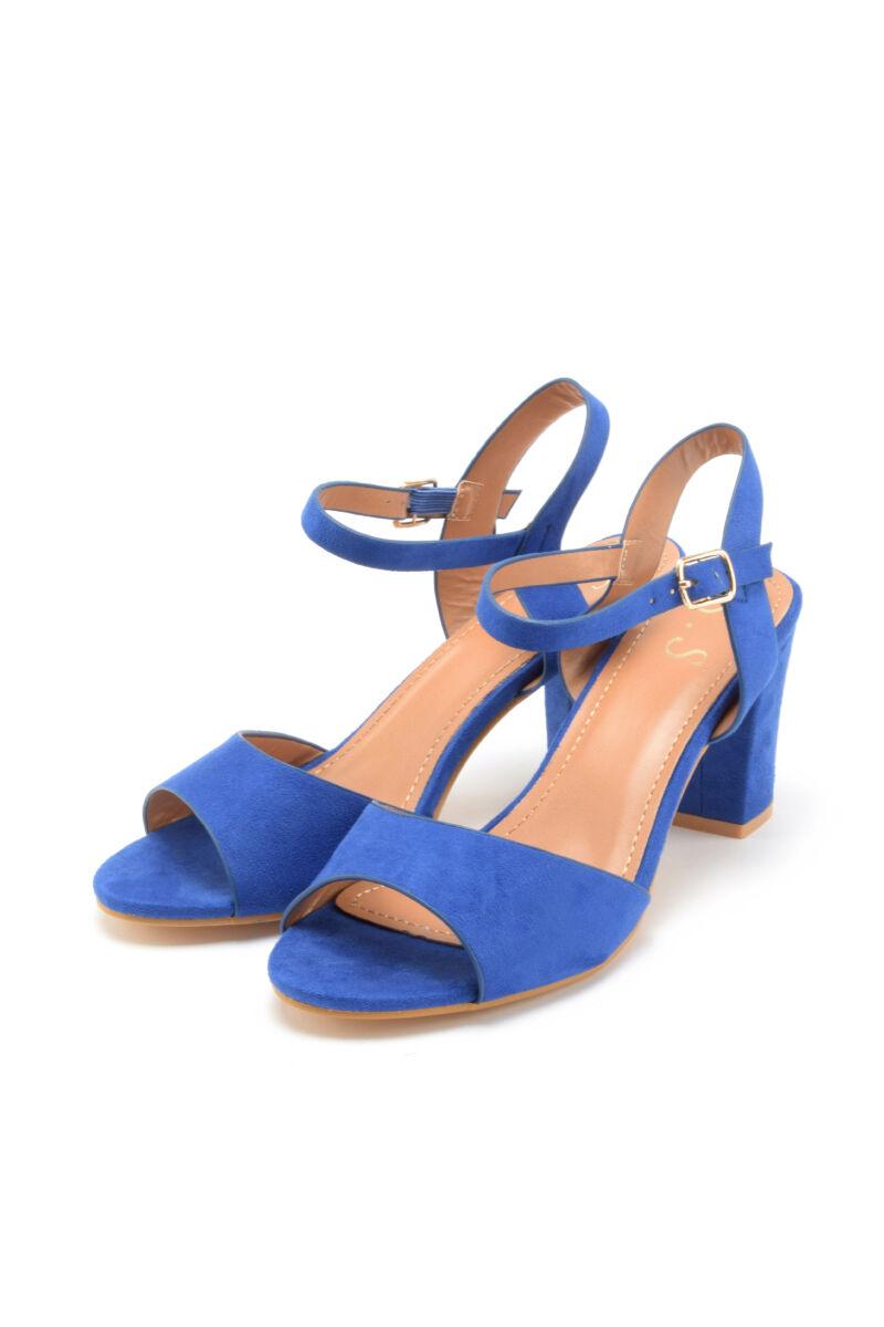 Kék pántos női művelúr magassarkú