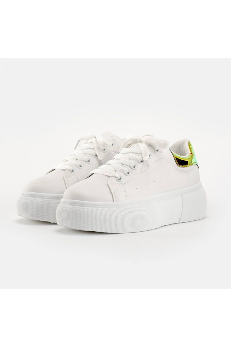 Fehér / Aranyszínű Női Magas Talpú Utcai Cipő
