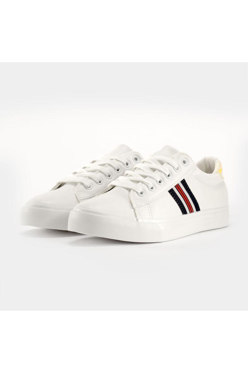 Fehér / Ezüstszínű Női Műbőr Sportcipő