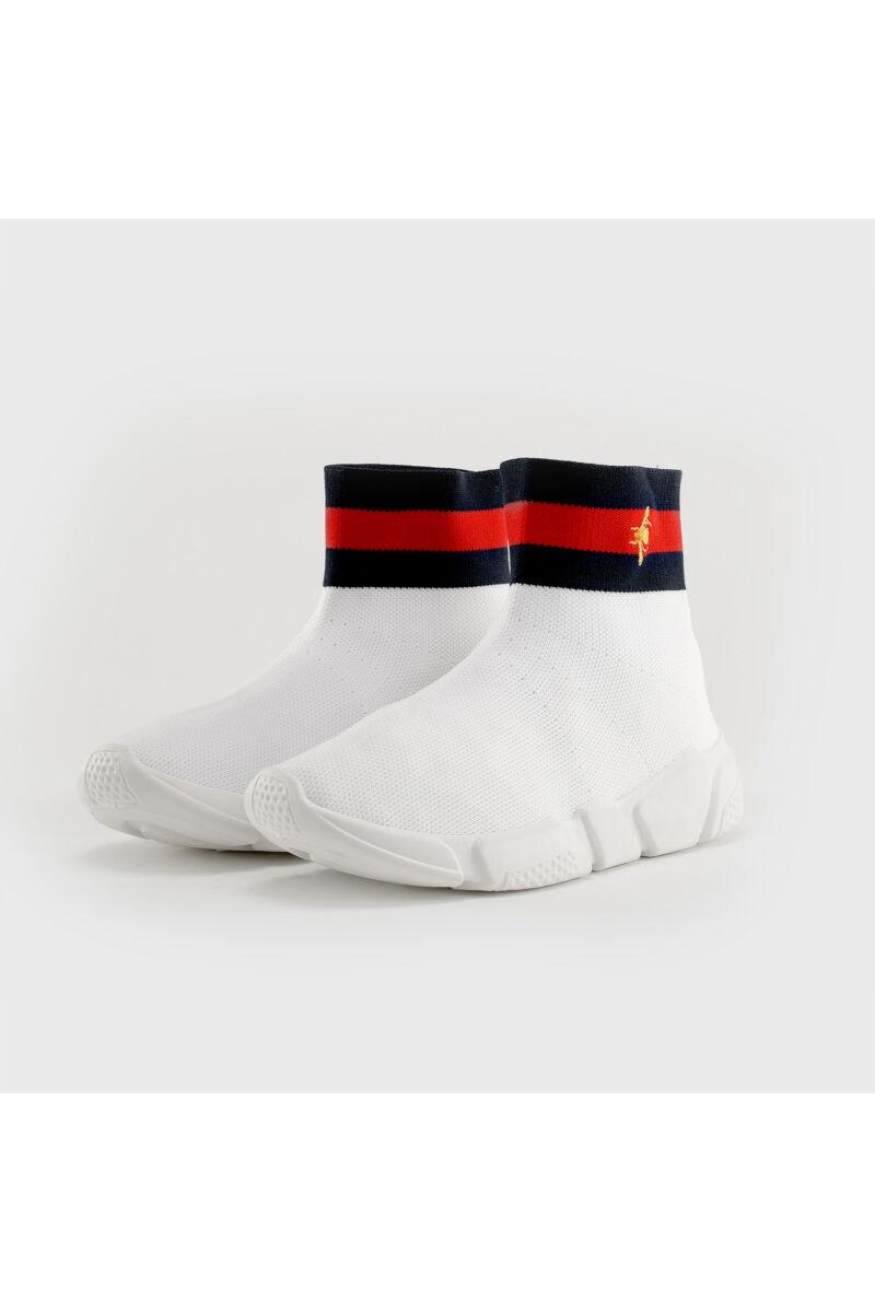Fehér Unisex Textil Zokni Stílusú Cipő