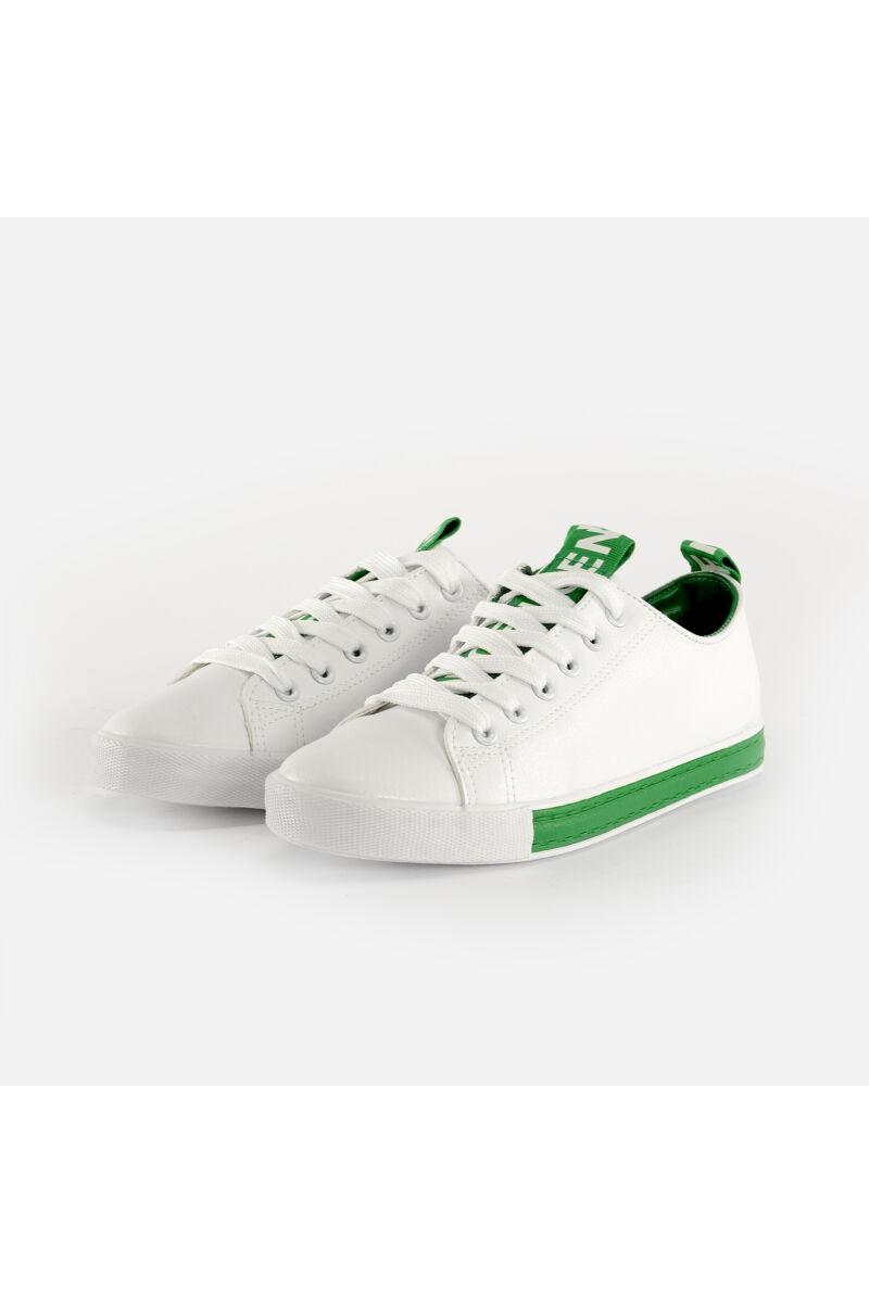 Fehér-Zöld Műbőr Félcipő