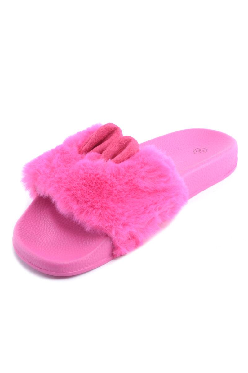 Női Szőrmés Papucs Nyuszifüllel Pink