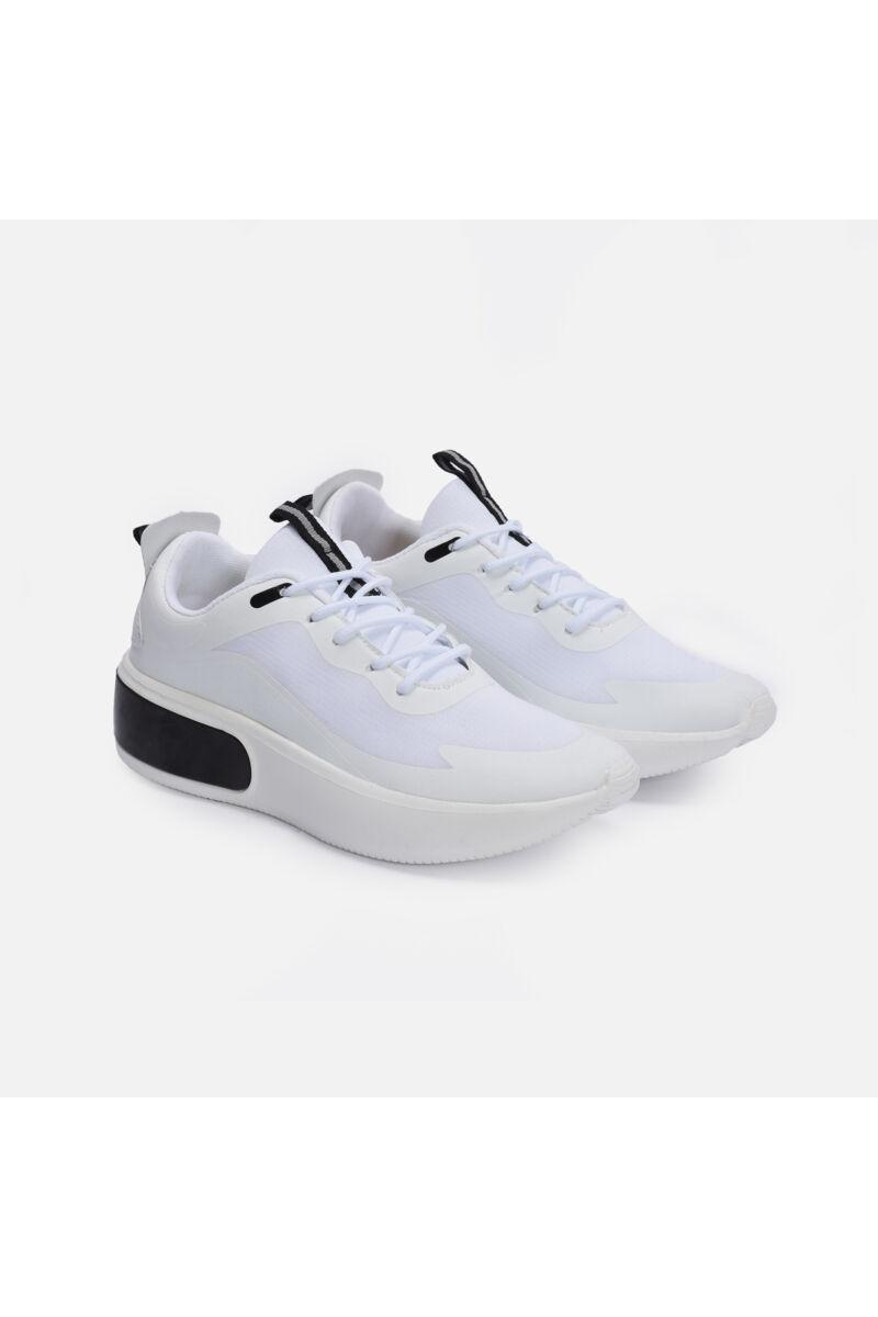 Fehér szintetikus sportcipő fekete betéttel