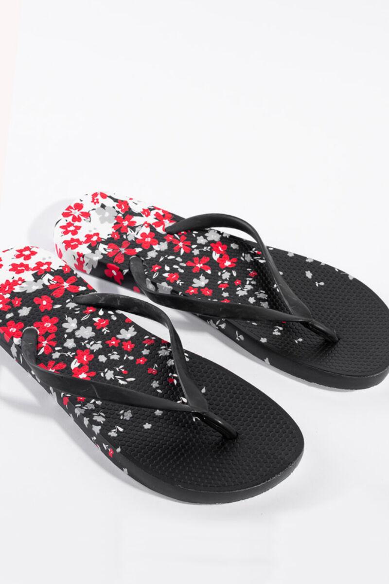 Fekete gumipapucs virág mintával