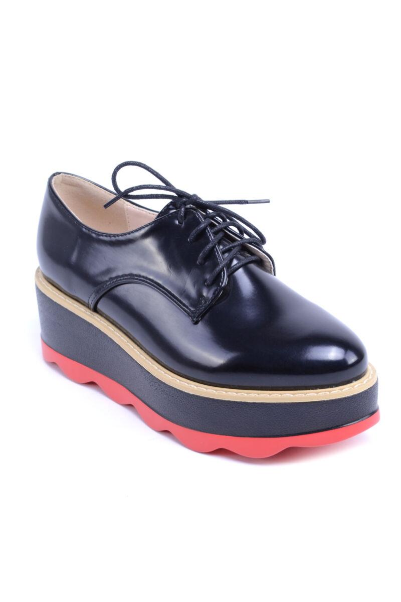 Női Műbőr Platformos Cipő Fekete