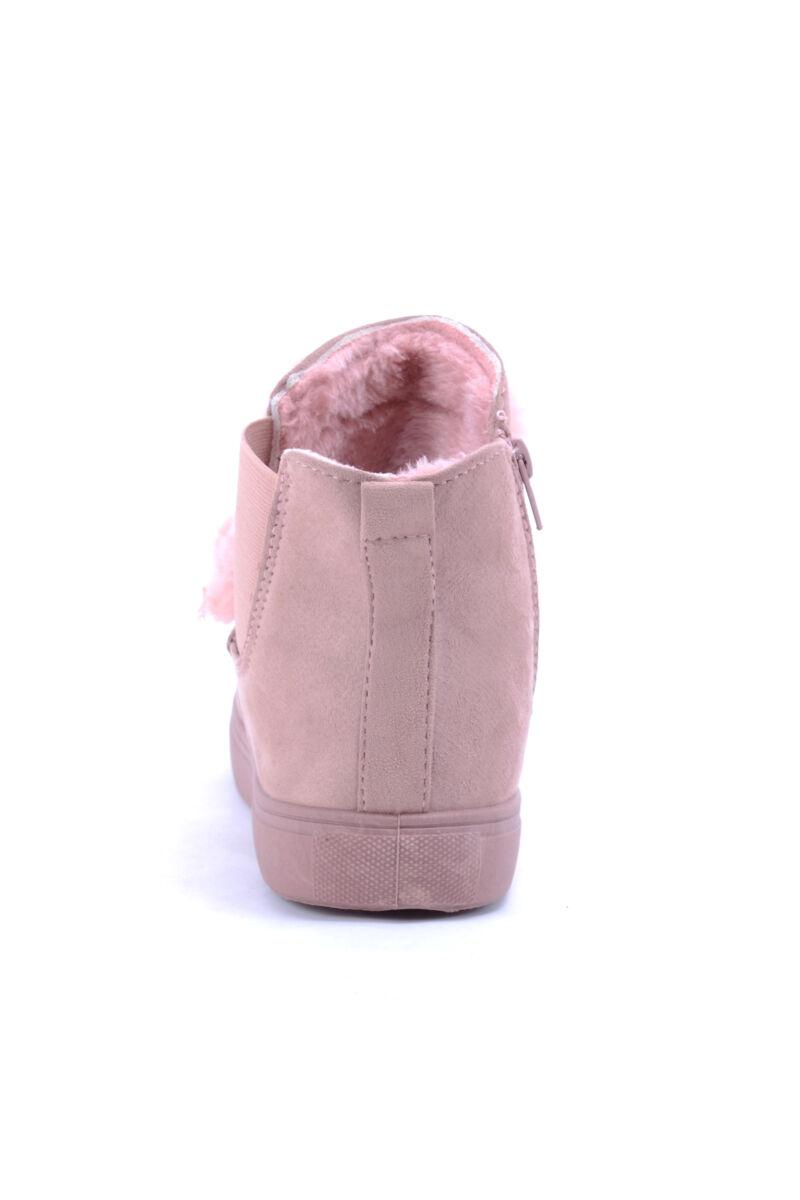Női Művelúr Bokacsizma Rózsaszín