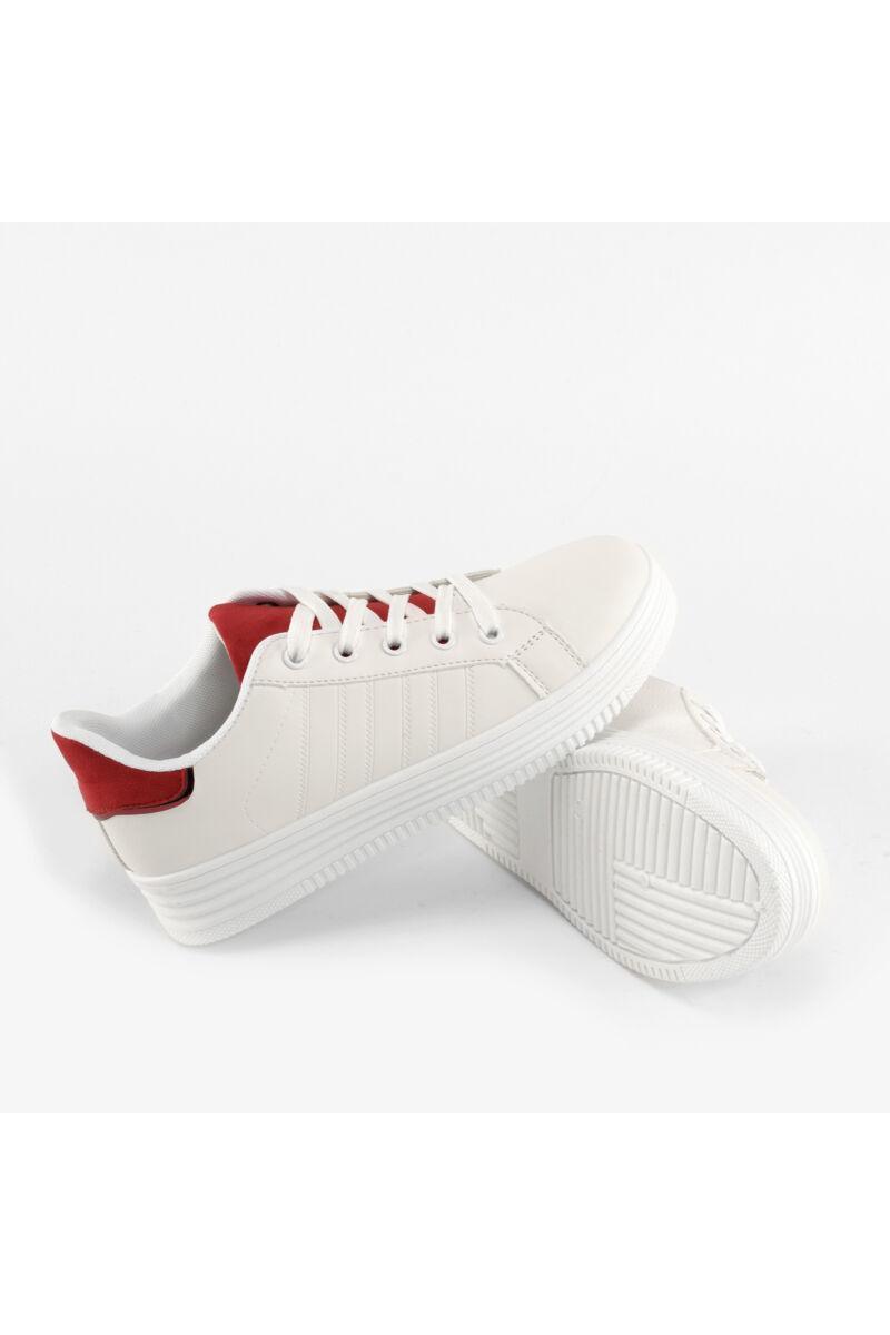 Fehér-Piros Női Műbőr Utcai Cipő