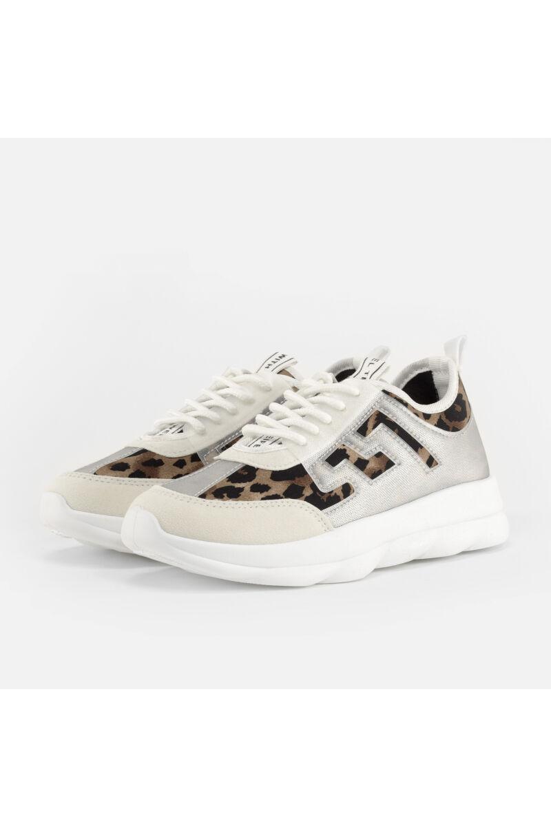 Fehér-Leopárd mintás Női Műbőr Utcai Cipő