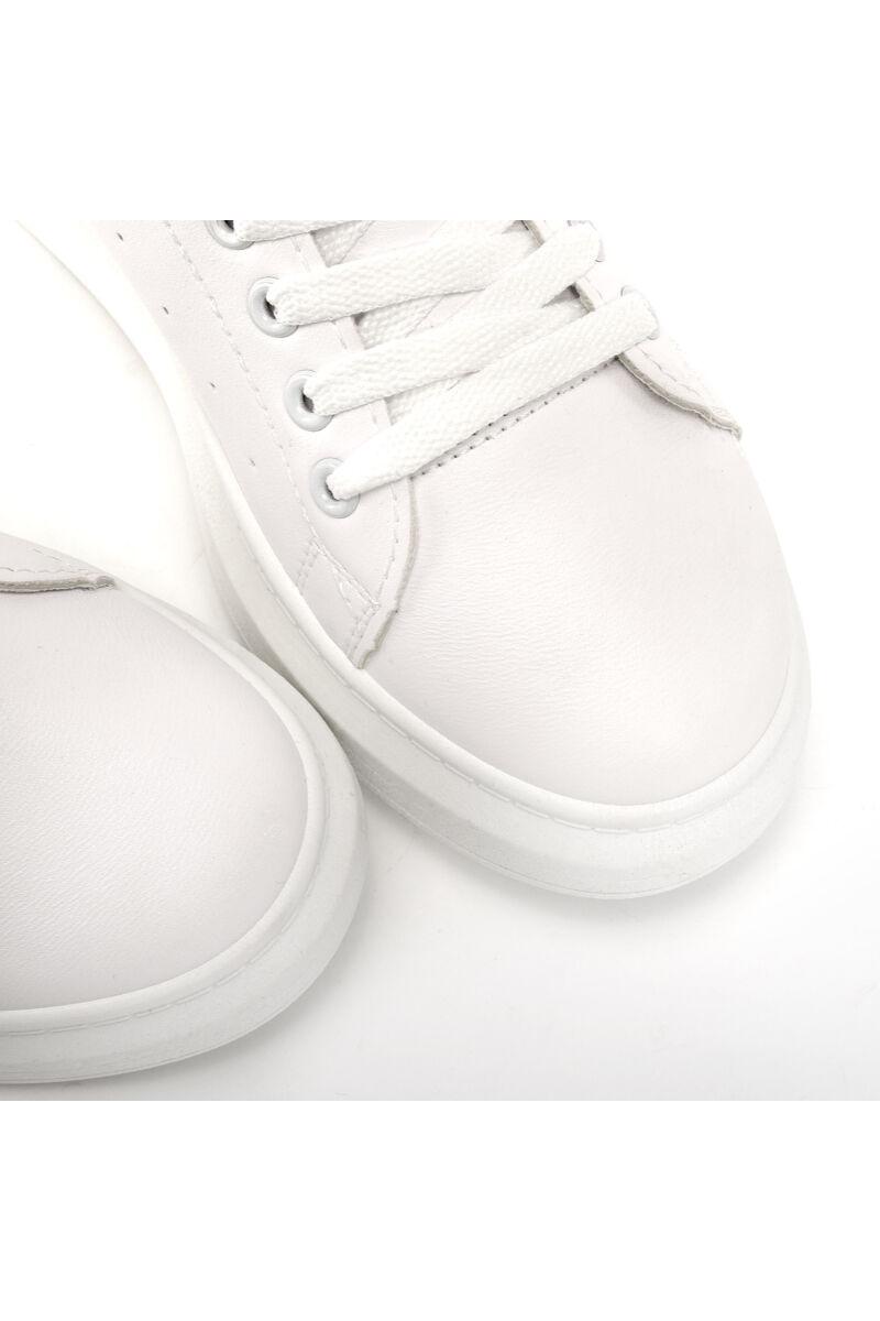 Fehér női műbőr sportcipő Leopárd Mintás díszítéssel