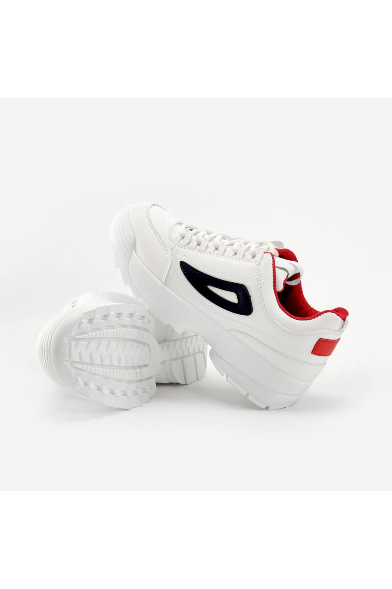 Fehér-Sötétkék-Piros Műbőr Félcipő