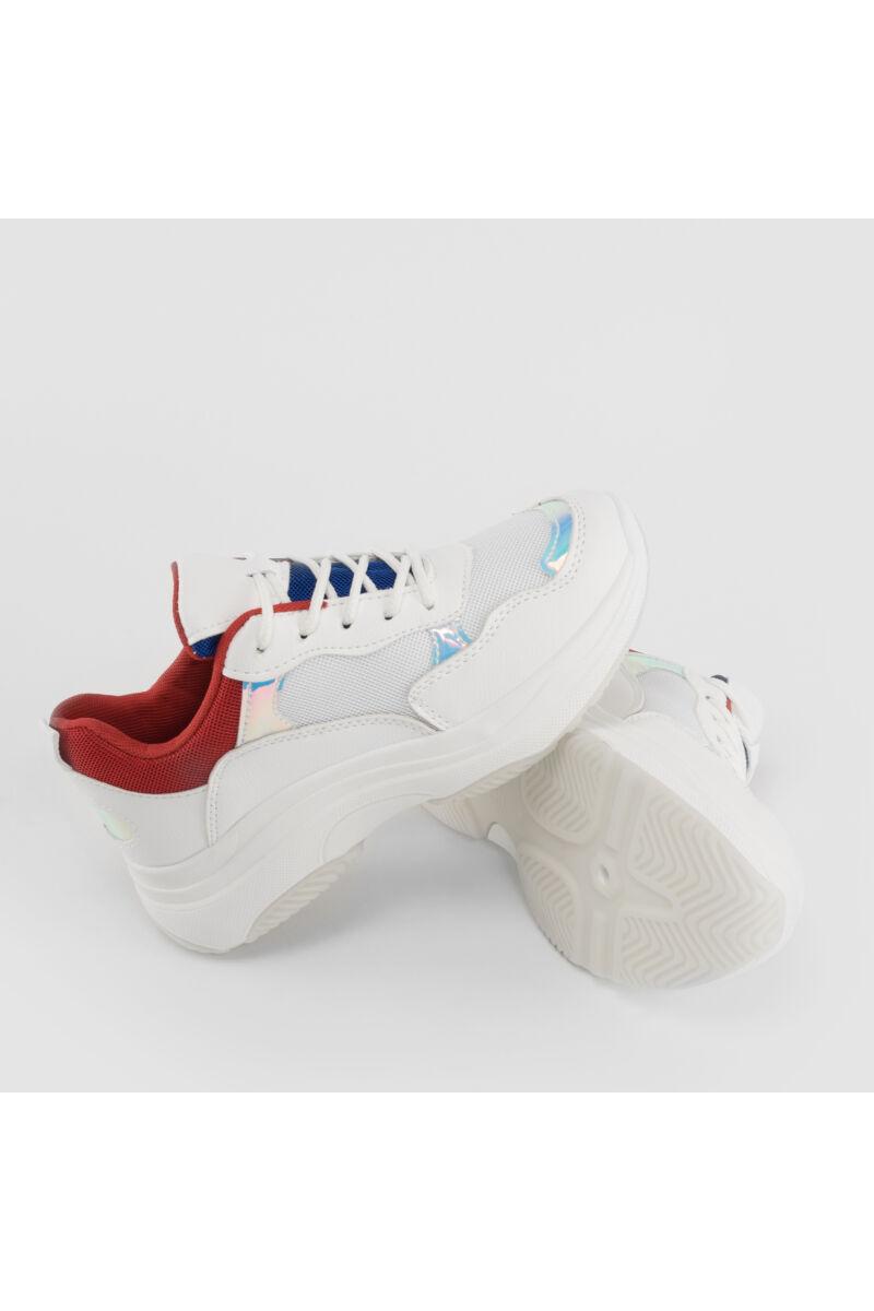 Fehér-Piros Csillogós Női Poliészter Sportcipő