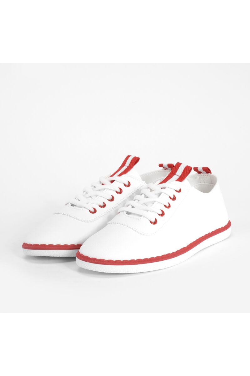 Piros Fehér Női Műbőr Utcai Cipő