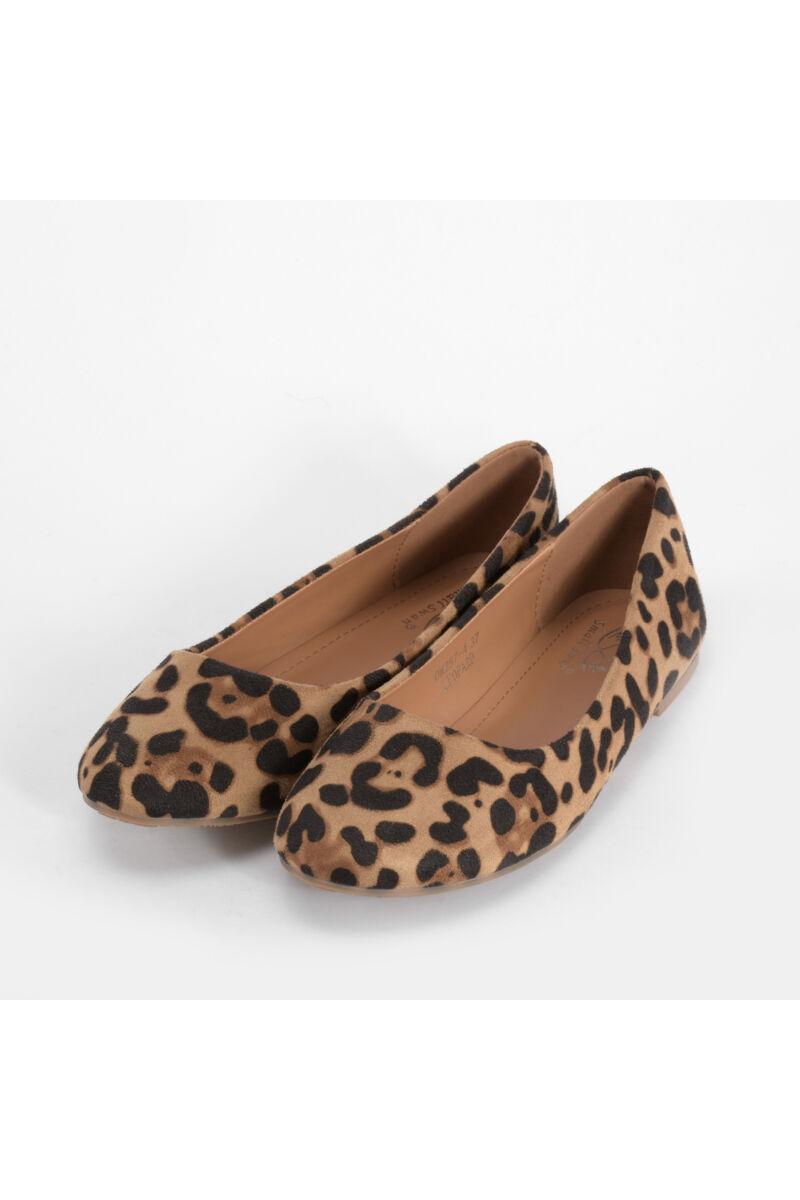 Leopárd Mintás Női Művelúr Balerina Cipő