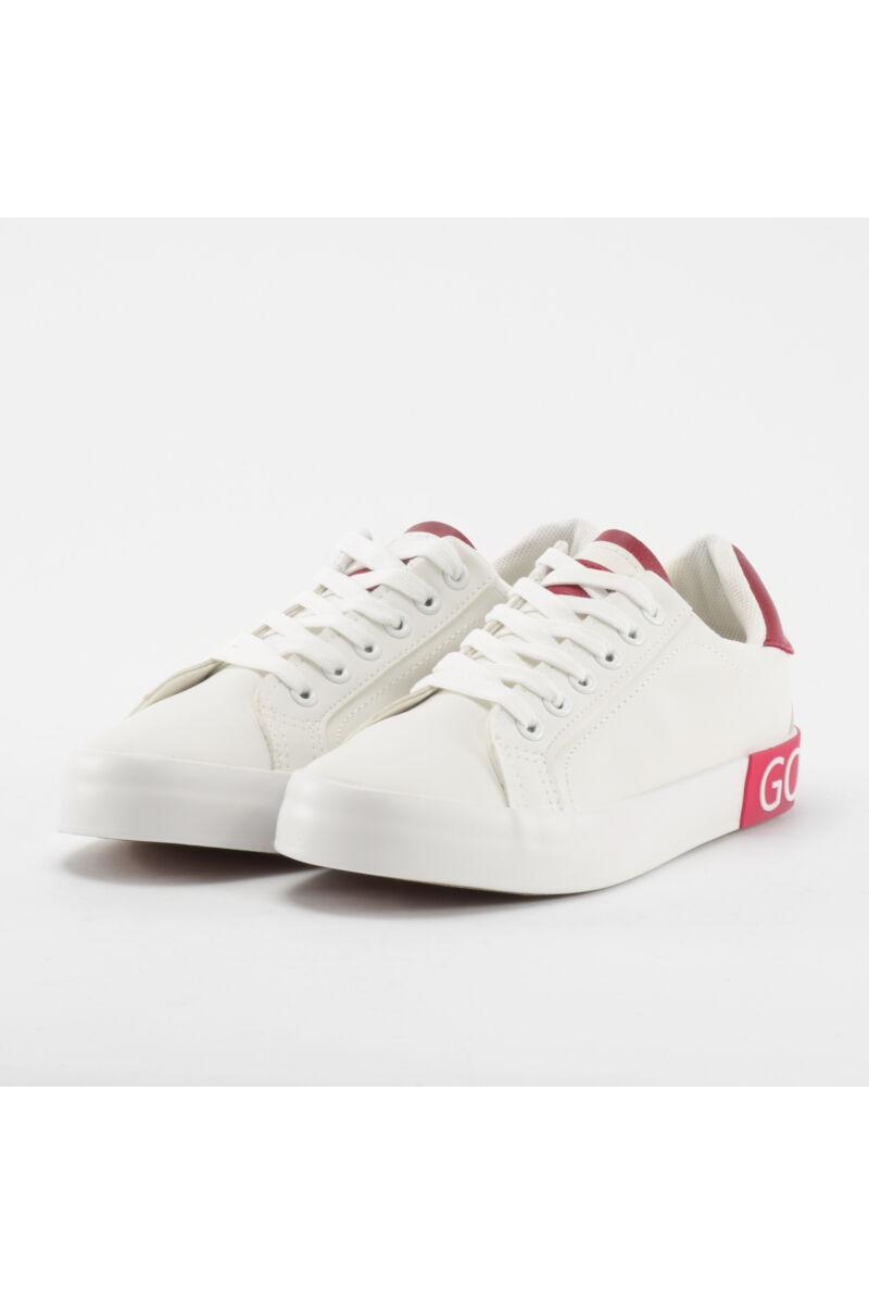 Fehér-Piros Mintás Női Poliészter Sportcipő
