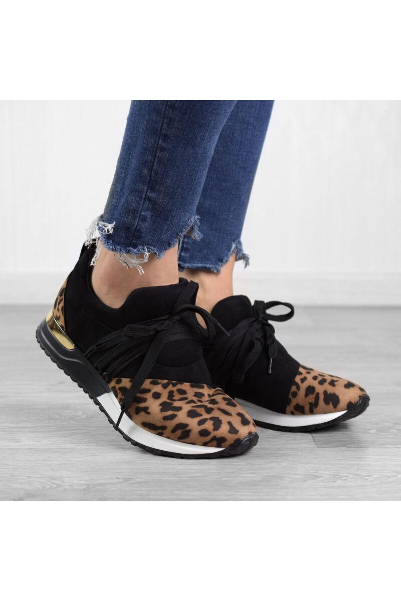 Fekete Leopárd Mintás Női Művelúr Utcai Cipő