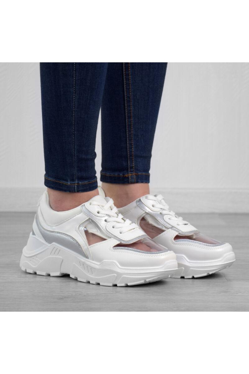 Fehér magas talpú női poliészter utcai cipő