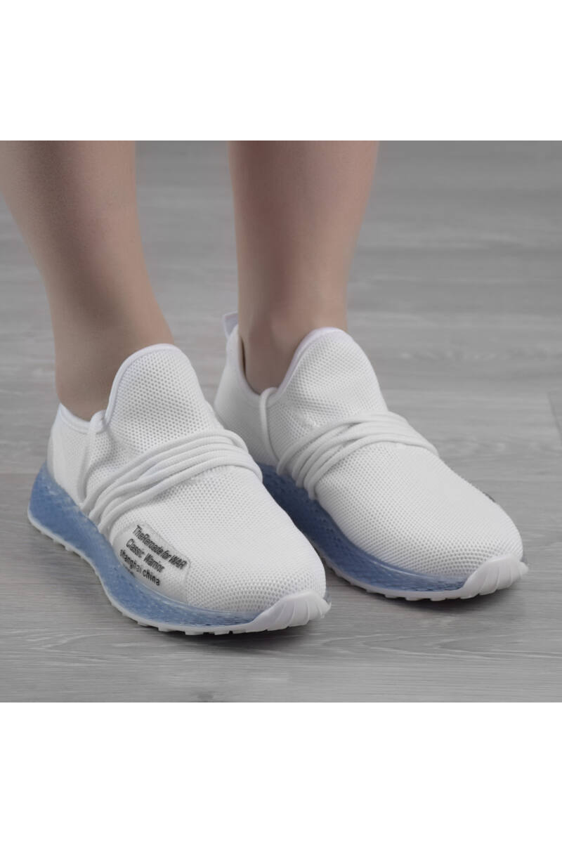Fehér / Kék Női Poliészter Sportcipő