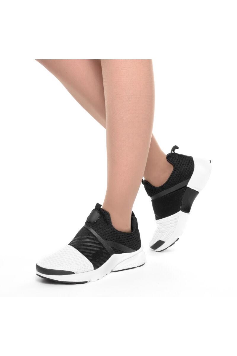 Fekete fehér légáteresztő könnyű sportcipő