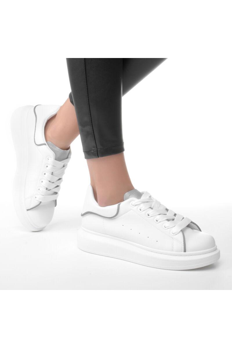 Női Fehér Fényvisszaverős Magas talpú Műbőr Utcai Cipő