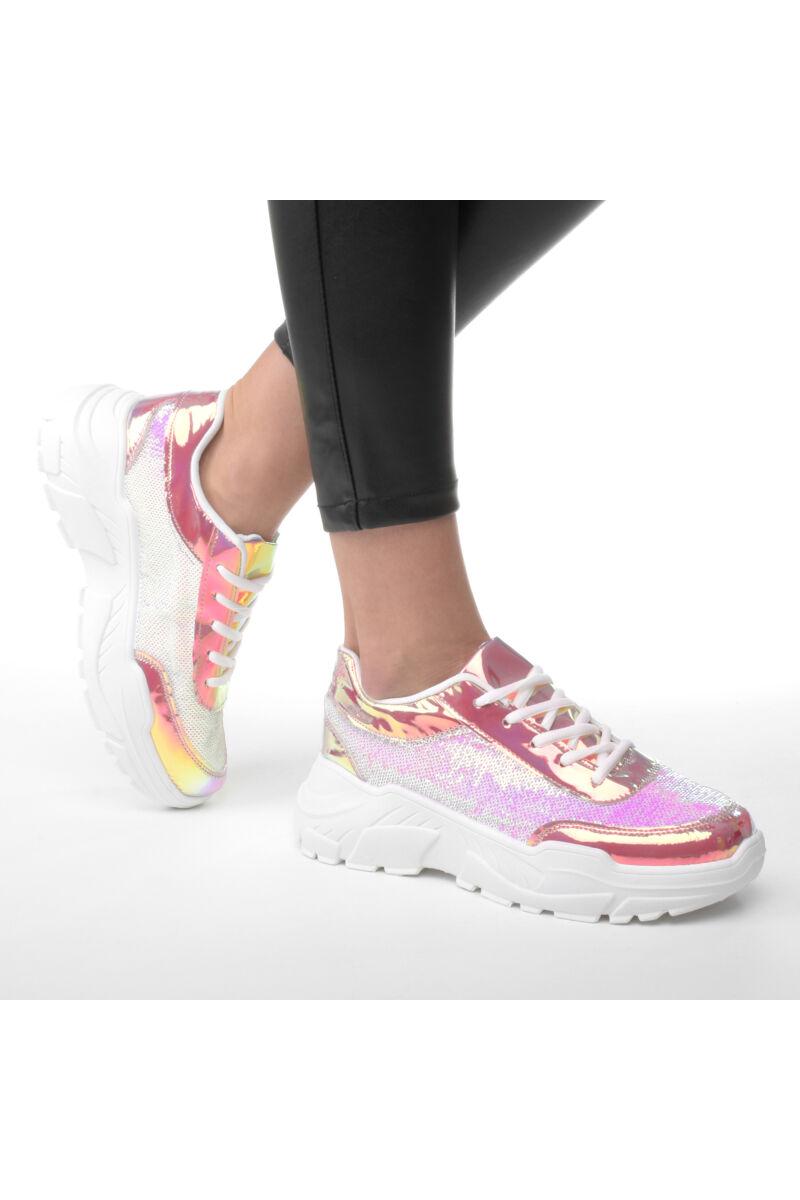 Hologramos Flitteres Rózsaszín Női Műbőr Félcipő