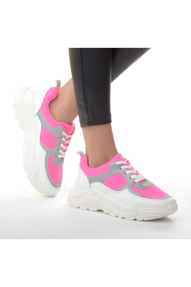 Női Rózsaszín Fényvisszaverős Magasított talpú Szintetikus Félcipő