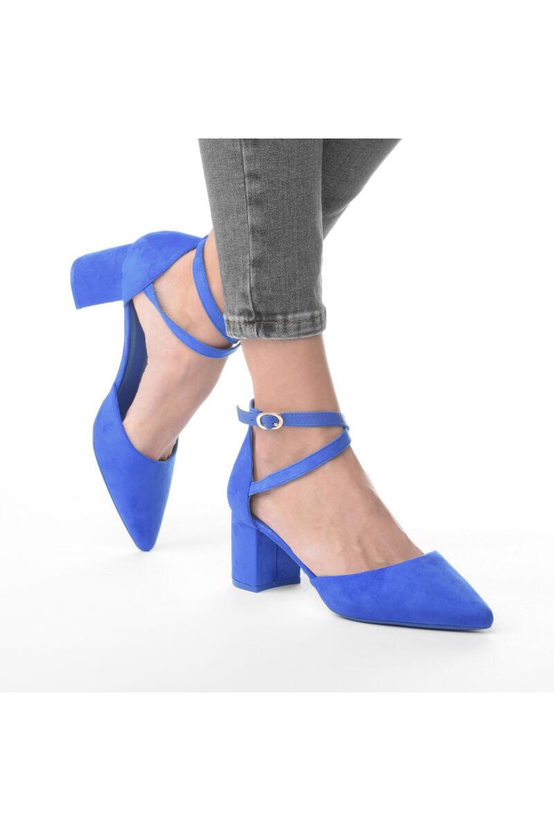 Női Kék Művelúr Törpesarkú Szandál