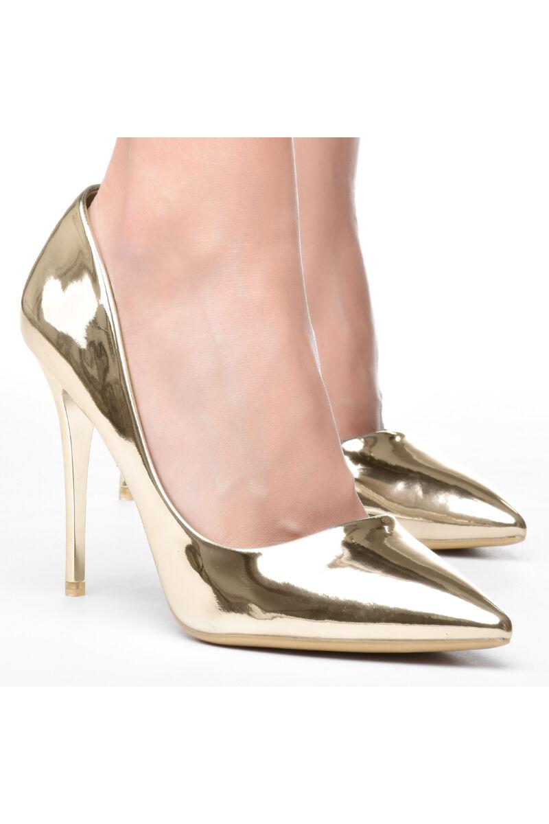 Női Arany Lakk Hegyesorrú Tűsarkú Cipő