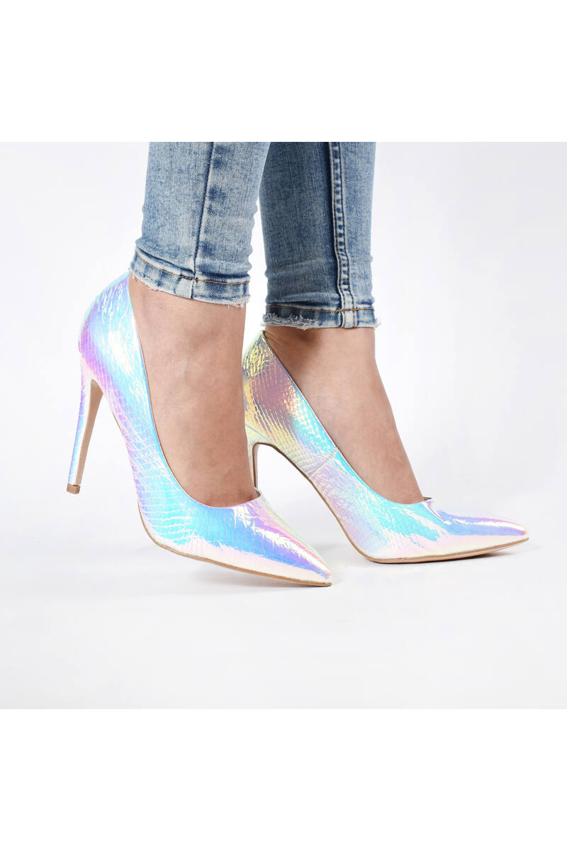 Női Fényes Ezüst Kígyóbőr Lakk Magassarkú Cipő
