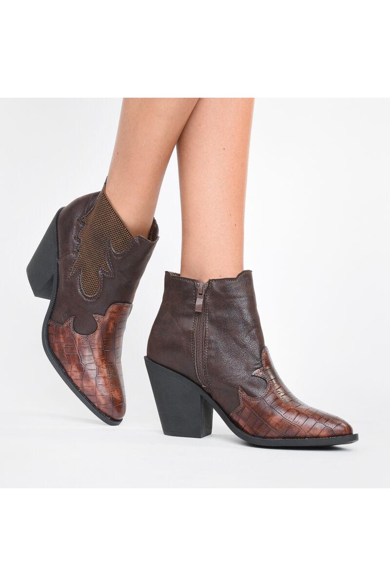 Fekete színű női műbőr cowboy stílusú bakancs
