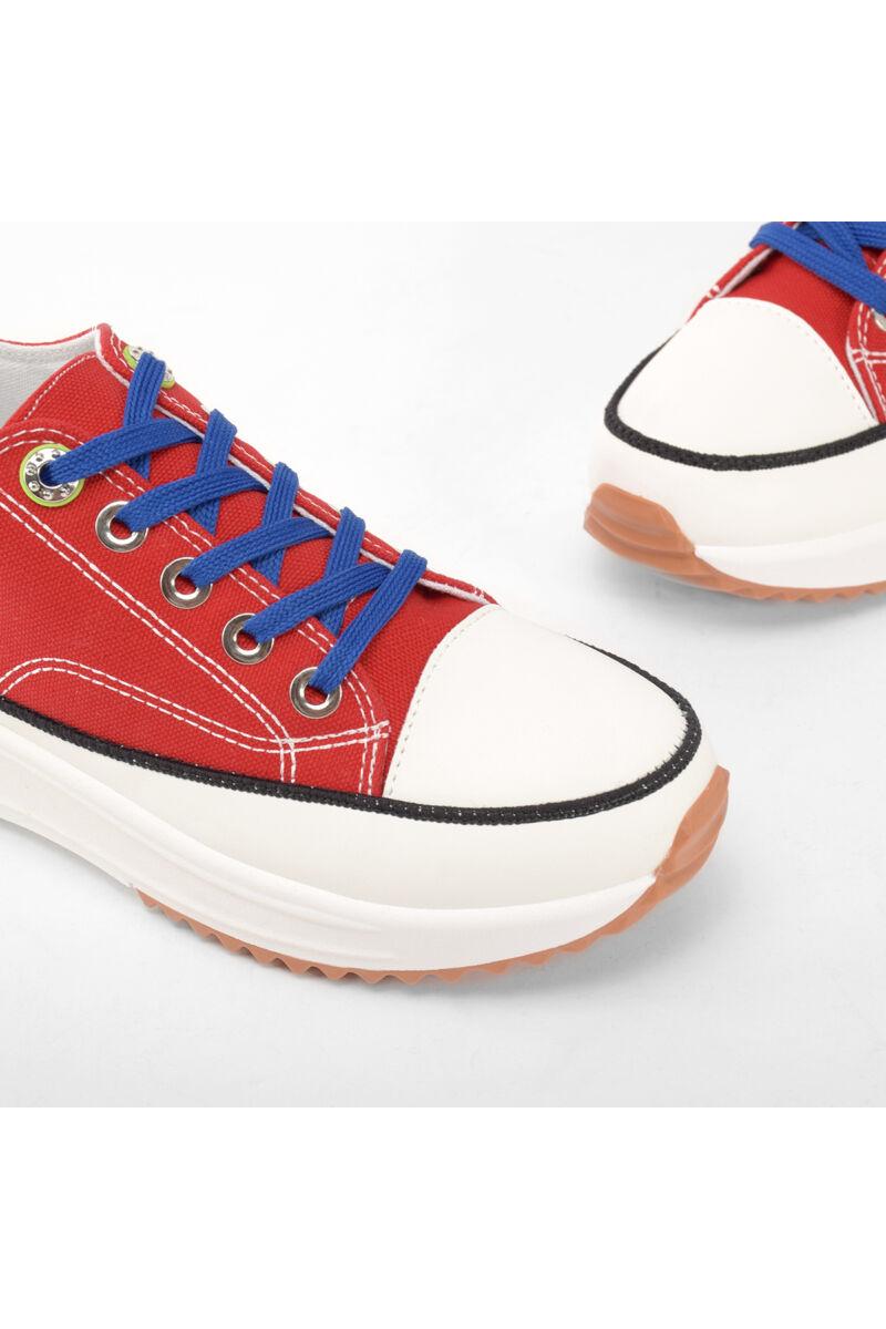 Piros női magastalpú vászon cipő