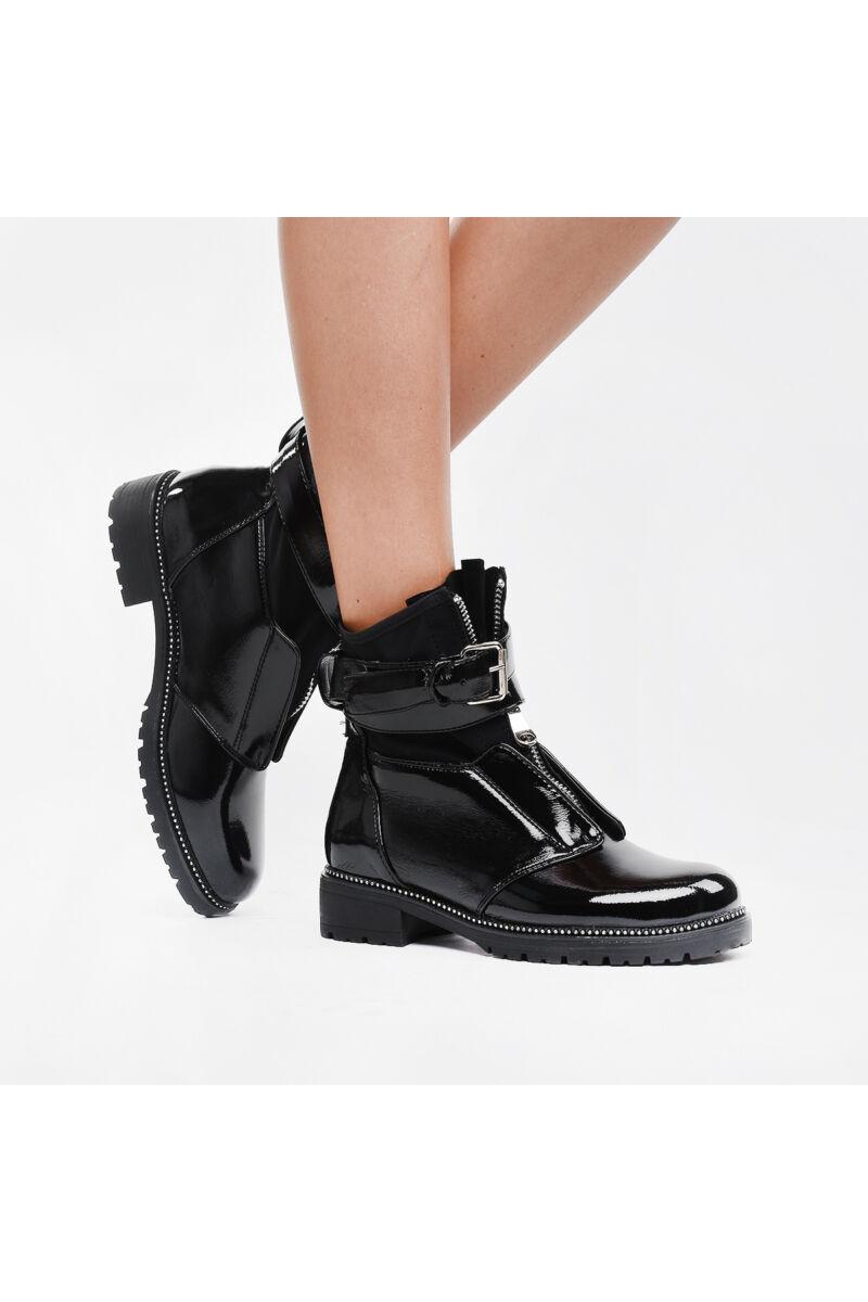Fekete cipzáras női lakk bakancs